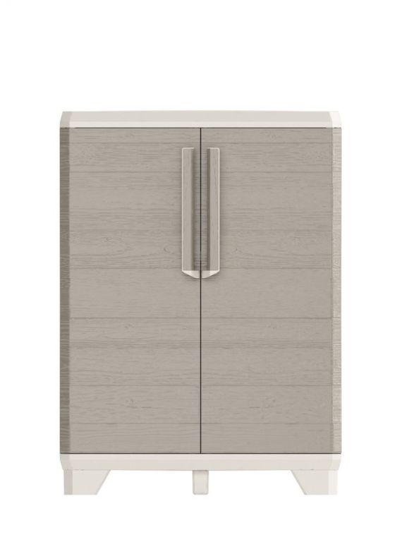 Plastová skriňa WOOD GRAIN LOW - 97 x 68 x 39 cm